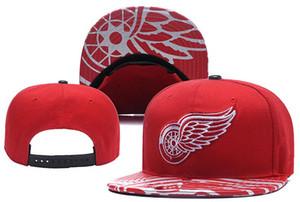 قبعات جديدة ديترويت ريد وينغز هوكي Snapback القبعات قبعة حمراء اللون فريق قبعات ميكس المباراة ترتيب جميع القبعات أعلى جودة قبعة