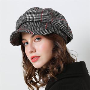 Women Baseball cap For Winter Female Cotton Hats Plaid Vintage Fashion Octagonal Casual boina Autumn 2018  New Women's Caps