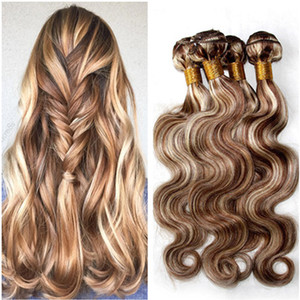 # 8/613 Color mezclado Piano Color Brasileño Human Pein Free Body Wave Light Brown and Blonde Piano Mix Color Virgin Hair Weave Bundles 4pcs