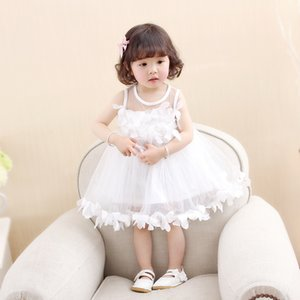 princess Flower Girls Dress 2018 Spring Autumn Fashion infant baby petal clothes Child Kids mesh yarn Ball Gown Dresses 1-4y