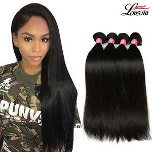 Перуанские прямые девственные человеческие волосы 3/4 пачки 8A Unprocessed дешевые перуанские прямые волосы утка 8-28 дюймов человеческих волос Remy соткут пачку