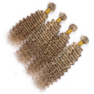 페루 피아노 색상 인간의 머리카락 대들 상품 4 개 세트 Deep Wave Wavy # 8 / 613 Highlight 혼합 피아노 컬러 Virgin Human Hair Weave Extensions