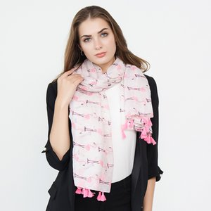 XDOMI 2018 Nueva Moda Brillante Pink Mint Bronzing Foil Gold Flamingo Gasa Borla Anillo Bufanda Snood Mujeres Imprimir Foulard Chal