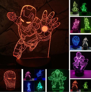 Avengers Super Hero Ironman Batman Hulk Capitan America Figura 3D Night Light LED 7 Color Change Gradient illusion Birthday Party Child Gift