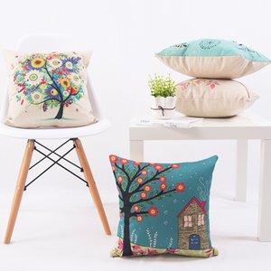Decorative Pillow Case 40x40cm Linen Cotton Printed Tree Pillows Covers For Soft Plain 2017 New Blue Pillow Cover Home Textiles