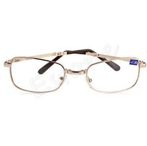 جديد للجنسين النساء الرجال 1PC نظارات القراءة معدنية قابلة للطي +1.00 1.50 2.00 2.50 3.00 3.50 4.00 Diopter + Case