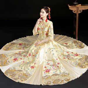 Traditional Chinese Wedding Gown Cheongsam Long Bride Traditions White Qipao Embroidery Oriental Style Dresses Vestido Vermelho