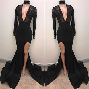 New Fabulous Fashion Schwarz High Neck Prom Kleider Applizierte Long Sleeves Mermaid Tiefer Sexy Split Abendkleider Pageant Celebrity Dress