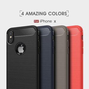 Luxus Stoßfest Rüstung Kohlefaser Abdeckung für iPhone X 8 7 6 S 6 Plus 5 Fall TPU Silikon Coque Capa Funda Dünnen Fall