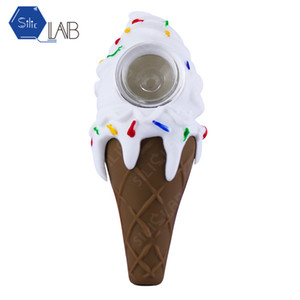 SILICLAB Colored Ice Cream Cone Smoking Pipes Glass Oil Burner Mini Smoking Hand Pipe High quality Straight Tobacco Pipe IN STOCK