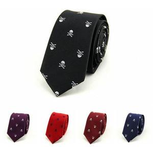 الجمجمة التعادل نحيل 6cm والترفيه ربطة عنق الكرتون حفل زفاف ربطات العنق البوليستر عارضة الرجال 1200 الأعمال سميك أسود أحمر أرجواني 2PCS / LOT