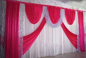3 * 6m Wedding Party Stage Celebration Background cetim cortina cortina Pilar Teto decoração Fundo Casamento Véu WT016