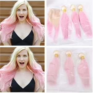 Шелковистая прямая #613 / розовый Ombre 4x4 кружева закрытие с девственными волосами переплетения пучки блондинка коренится розовый Ombre перуанский человеческих волос 3 пучка сделок