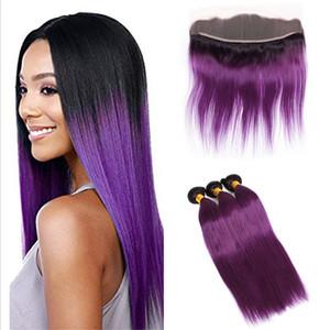 인간의 머리카락 3Bundles Ombre 1B 퍼플 처리되지 않은 머리 확장 및 13 x 4 레이스 정면 두 컬러 직선 보라색 레이스 정면