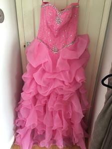 15 년 동안 2020 뉴 핑크 볼 가운 성인식 드레스 크리스탈 달콤한 16 플러스 사이즈 선발 대회 댄스 파티 파티 드레스 QC1052