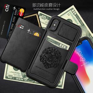 Luxus Cover Ledertasche mit Halter / Kartenfach für iPhone Xs Max XR X 6 7 8 Plus Samsung Galaxy S9 Hinweis 9