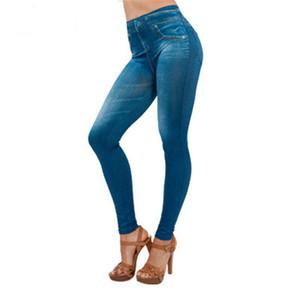 Frauen Gefälschte Taschen-Entwurf Jeans Skinny Stretch Sexy Capris Damen-lange Bleistift-Hosen Frau Gefälschte Jeans-Hosen-Frauen-Kleidung