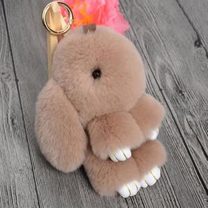 Mode Real Kaninchen-Pelz-2017 Schlüsselanhänger Hase Rex Kaninchen-Pelz-Beutel-Handtasche Schlüsselanhänger Pom Puppe Kugel Schlüsselanhänger Ring-Anhänger Kinder Geschenk