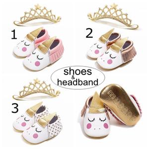 INS Unicorn Bebek Yürüyüş Ayakkabıları bebek taç bandı Moccs Moccasins Bebek İlk Walkers püsküller yumuşak Deri Bebekler ayakkabı 0-18Mos ücretsiz gemi