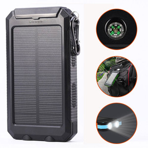 USB étanche 10000mAh Solar Power Bank Chargeur Portable Outdoor Voyage Enternal batterie DC5V. LED Compass