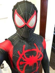 Майлз Моралес lnto-паук стихотворных костюмов Пользовательского 3D Printed Symbiote Spider-Man Lycra Косплей Zentai Spidey костюм