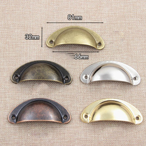 5 colors Vintage Cabinet Knobs and Handles Cupboard Door Cabinet Drawer Furniture Antique Shell Handle free shipping