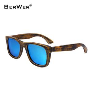BerWer 2017 Designer De Bambu De Madeira Óculos De Sol Polarizados Homens mulheres De Madeira Óculos de Revestimento Estilo Verão