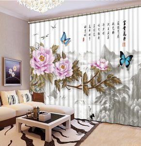 Cortinas apantalladas del estilo chino para las flores del dormitorio Cortinas de la ramificación para la cortina de ventana de la sala de estar