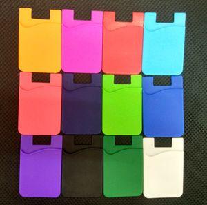 Téléphone Collant Portefeuille Silicone Carte Autocollante Couvre Poche Coloré Titulaire de la Carte De Crédit Portefeuille Smart Silicone Pochette De Téléphone 3M Collant