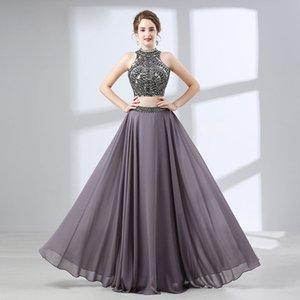 2019 섹시한 두 조각 라인 여성 댄스 파티 드레스 높은 품질의 빛나는 Beadings 쉬폰 쉬폰 회색 이브닝 드레스 학교 파티 파티 드레스