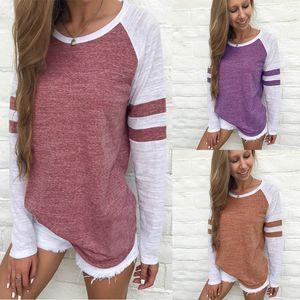 Mulheres Listradas Splicing Baseball T-Shirts Algodão T-shirt Maternidade Pullover Tops 7 cores C4358