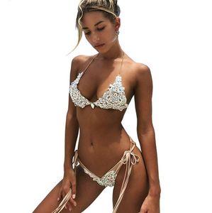 Verband Spitze-Bikini-gesetzte reizvolle Frauen 2018 der neuen Sommerkristall Bademode Push-up-BH Badeanzug Jahrgang Monokini Bademode Badeanzug