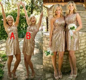 2018 дешевые светло-золотые платья невесты короткие мини одно плечо V шеи блестками Ruched Country Beach свадьба порыв платье фрейлина платья
