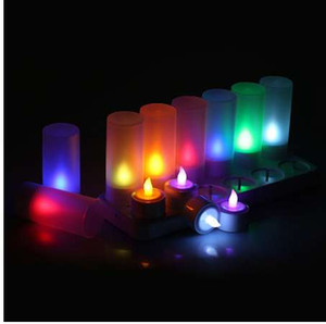 12pcs set Remote Controll Rechargeable Tea Light LED Candles frosted Flameless TeaLight multi-color Changing candle lamp Party