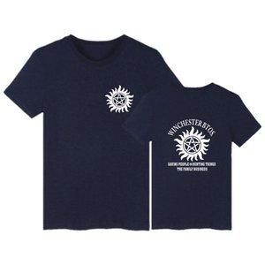 Young Men's T-shirts Pure Cotton Cartoon Short Sleeve American TV Series Supernatural Printing Set Head Round Neck