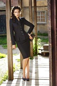 Traje de trabajo negro para mujer Formal volante Blazer 2 Set Office Business Falda traje B362