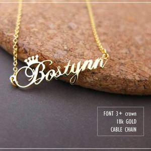 Personalizado coroa nome colar de jóias personalizado de prata em ouro rosa de aço inoxidável placa de identificação choker colar mulheres presente da dama de honra