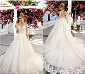 Long Sleeve Lace Wedding Dresses 2017 Vintage Lace Bateau Neck Illusion Appliques bead backless Bridal Gowns Arabic Dubai Wedding Dress