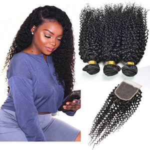 Монгольские девственницы наращивание волос пучки с 4x4 кружева закрытия 4 шт. / лот кудрявый вьющиеся 8A Оптовая человеческих волос утки с закрытием детские волосы
