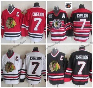 Mens 1992 Vintage Chris Chelios Chicago Blackhawks Maglie da hockey 75th Black Home Rosso Classic White 7 Chris Chelios Stitched Shirts C Patch