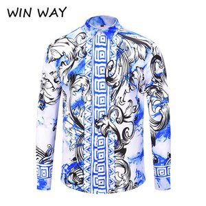 WIN WAY New  Chinese Flower Shirt Long Sleeve Male Shirt Fashion Blue and White  Print Slim Fit Chemise Homme