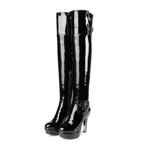 Pelle verniciata sexy della coscia tacco alto stivali invernali donne sopra il ginocchio Boots Plus Size Shoes rotonda della piattaforma lato testa cerniera Rosso Colore Nero