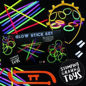 Led Toys 100 Glow Stick Box Set - 네온 컬러 - 안경 토끼 귀 - 파티 축제