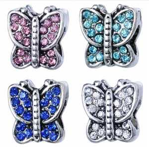 Wholesale 50PCS Fashion Alloy Metal Rhinestone Butterfly Beads fit European Charm bracelet DIY Jewelry For Women Low Price RHB77