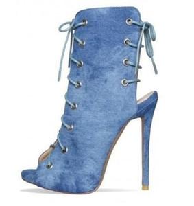 Açık Mavi Denim Ayak Bileği Patik Peep Toe Stiletto Topuk Dantel Up Kot Elbise Pimps Eğilim Moda Strappy Gladyatör Çizmeler