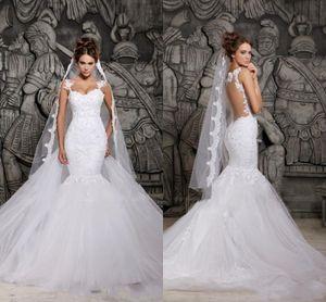 Elegante Sexy White Lace Mermaid Brautkleider Sheer Zurück Abnehmbarer Zug Brautkleider Plus Size Vestidos De Noiva
