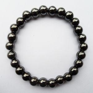 Commercio all'ingrosso della fabbrica di alta qualità uomo donna salute 8 MM nero magnetico ematite ologramma regalo gioielli braccialetto con elasticità