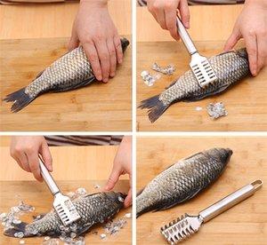 Escala de peixe faca Raspador de Aço Inoxidável Raspador de Peixe Scraping Removedor de Pele Cleaner Scraper Cozinha útil Descascador de gadgets accessoriess