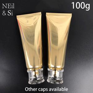 100 ml Altın Plastik Yumuşak Şişe 100g Kozmetik Yüz Temizleyici Krem Boş Sıkıştırın Tüp Şampuan Losyon Şişeleri Ücretsiz Kargo