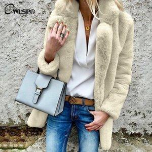 CWLSP 2018 Winter Coat Fashion Warm Women Faux Fur Coat Lapel Fluff Long Sleeve Fur Women Outwear QL4287